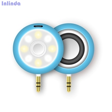 Portable Speaker with Selfie Ring Light,Bass Speaker with Cold Warm Fill Light with 3.5mm AUX Audio Port for Phone