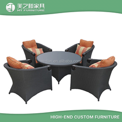 PE rattan furniture coffee shop chairs patio outdoor furniture dining table set