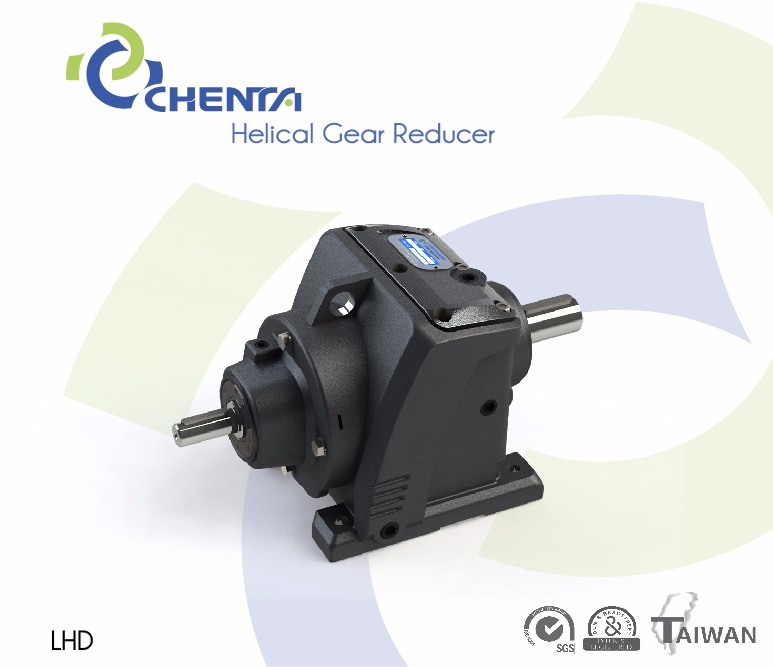 Inline helical gear speed reducer for automatic screw conveyor use