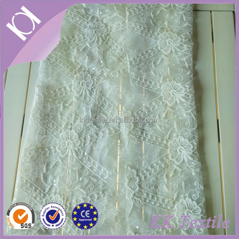 NO.685 Hot sale high quality lattice lace 100% Polyester organza mesh with flower embroidery fashion style lady clothes fabric