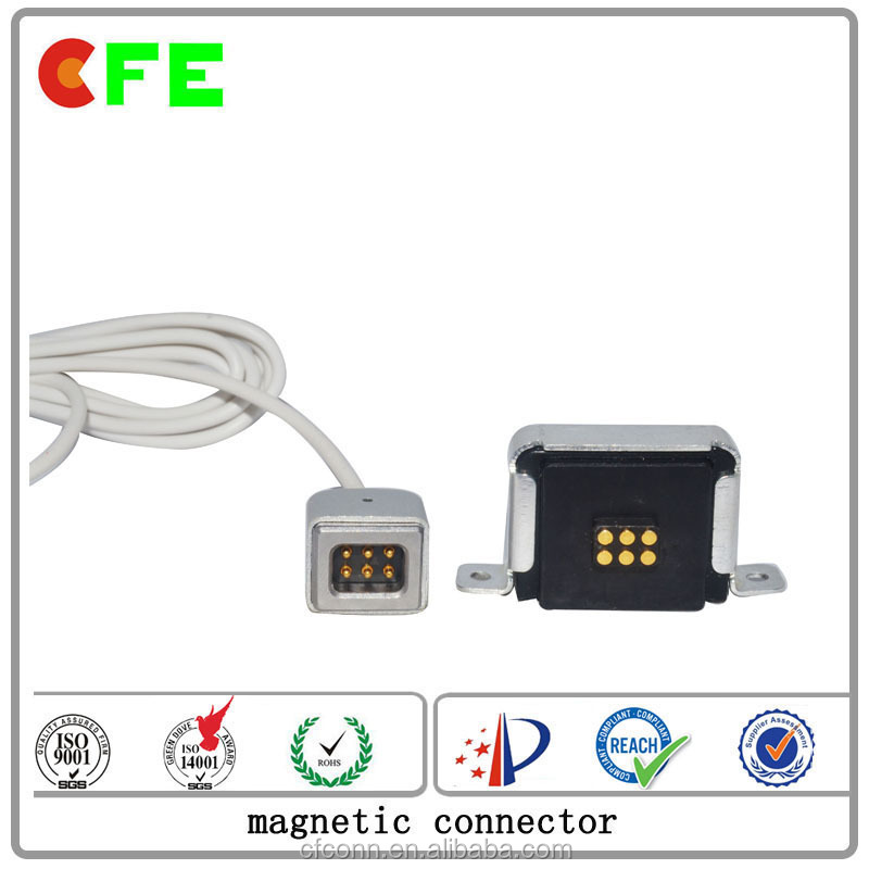 6 - pin magnetic power connector with strong magnet attraction power