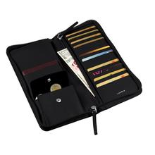 Zipper document organizer leather travel passport wallet