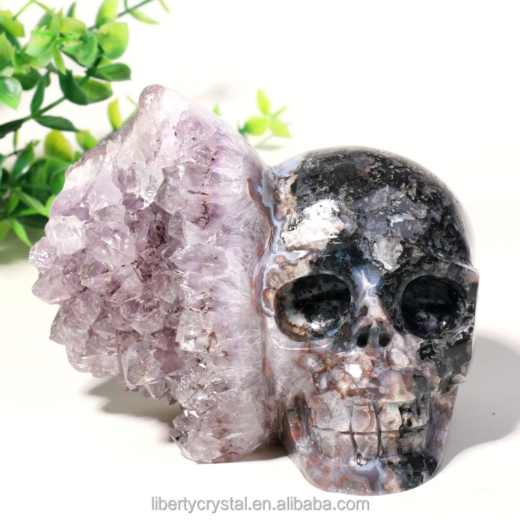 Wholesale incredible amethyst cluster hand carved quartz crystal skull