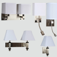 Hotel led wall light fixtures Brushed Nickel LED Wall Sconce for hotel Bronze with White linen shade with trim