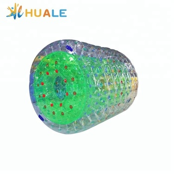 Transparent 1.0mm PVC inflatable water roller/colorful roller ball for water games