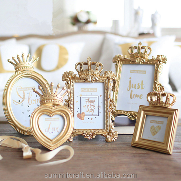 Resin gold crown style different types love photo frames