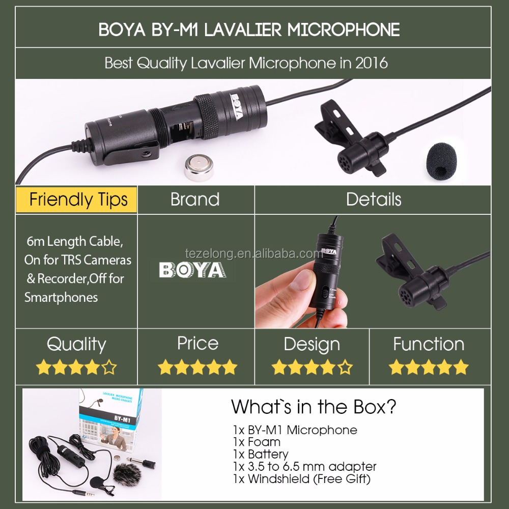 Tz BOYA Lavalier Omnidirectional Condenser Microphone for Canon,for iPhone 7 DSLR Camcorder Audio Recorders Label Lav BY-M1