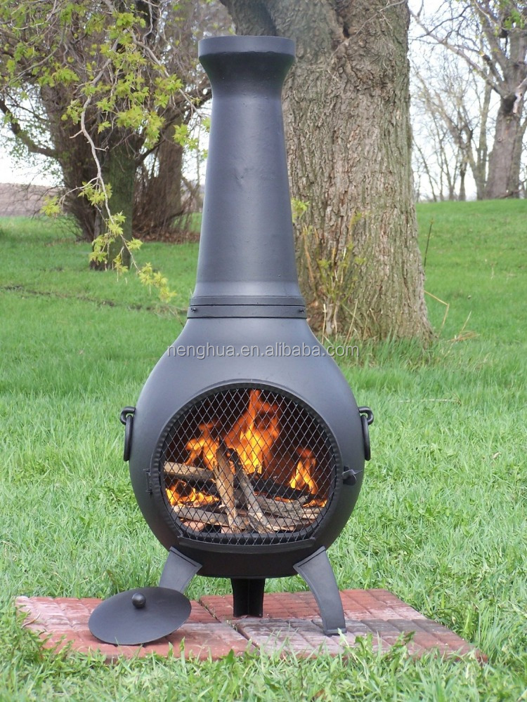 Cast Aluminum Prairie Chiminea in Charcoal,fire place