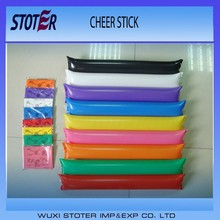 high quality PE inflatable cheering balloon stick,bam bam stick,thunder sticks
