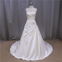 Crystal Bead Sexy alluring sheath satin long length wedding gowns