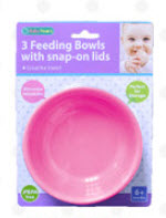 3 Feeding Bowls With Snap On Lids