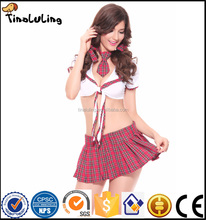 Hot Sexy Japanese Girl School Uniform Sex Lingerie 2017 New Women Costumes Cheerleader Costume Korean Student Costumes red