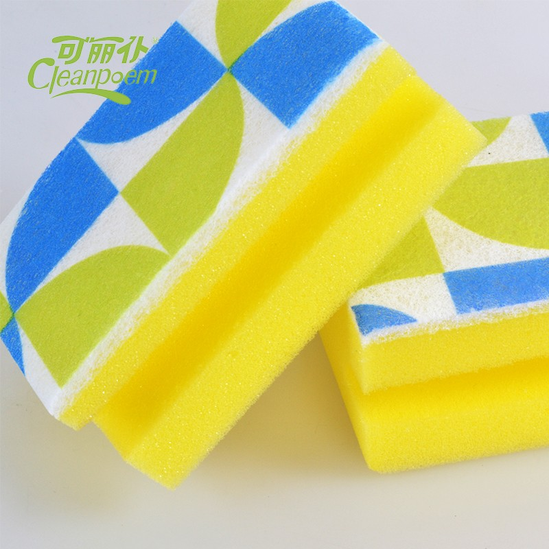Track sponge with scouring pad/ useful kitchen cleaning sponge