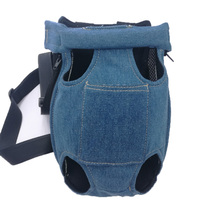 Lovoyager denim small dogs and cats carrier travel bag easy fit legs out pet chest backpack front