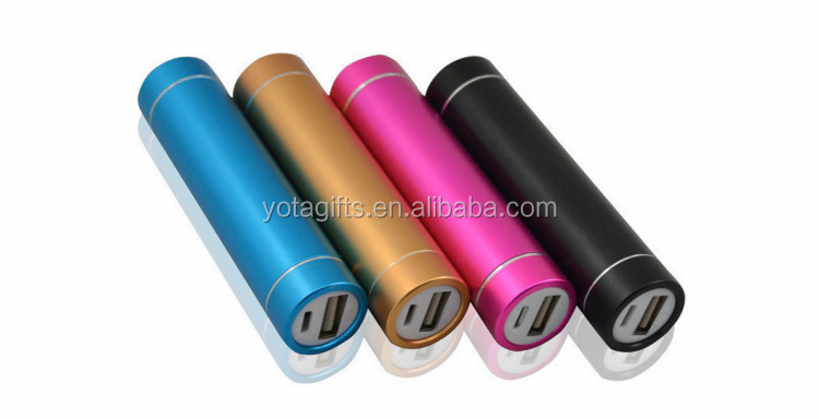 Printing custom logo columned round shape bottom usb power bank 2000mAh to 2600mAh