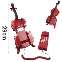 Fashionable Unique Red Violin Style Phone Home-use Wired Telephone with Holder