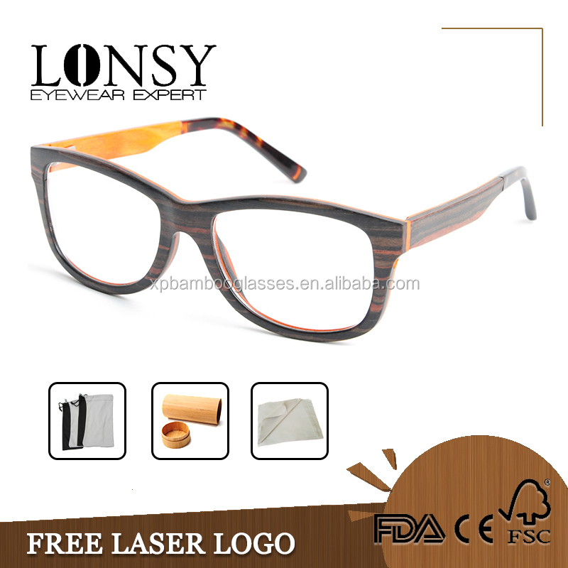 Stylish Laminated Wood Optical Glasses Frame for Men LS2928-C1