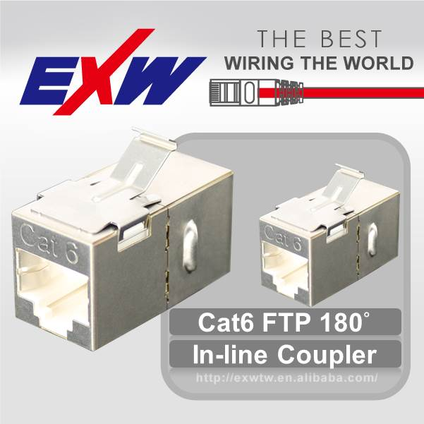 Best china supplier hot sale RJ45 FTP 180 Degree Cat6 In-Line Coupler