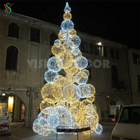 Pink Yellow Blue Green IP68 RGB Colorful Outdoor Decoration LED Artificial Lighted Christmas Ball Tree