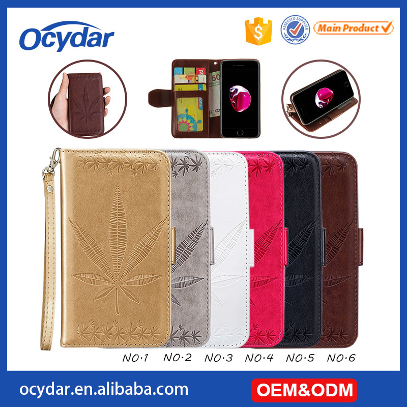 Attractive Waterproof Maple Leaf Pattern Leather Wallet Mobile Phone Case for iPhone 7 Plus