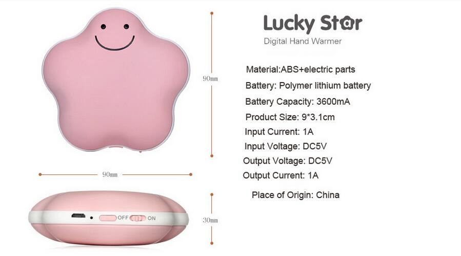 USB Rechargeable Hand Warmer Power Bank Electronic Heater with 3600mAh Li Polymer Battery Power Bank