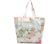 2016 New Arrival Fresh Sweet Flower Printed Polyester Shoulder Shopping Bag For Cute Girl