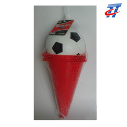 football and guidepost soccer ball and road sign