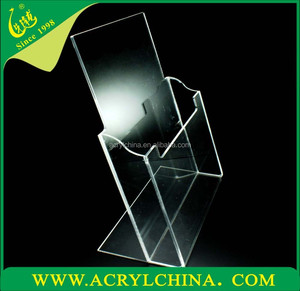 clear acrylic A4 brochure menu counter display with polished edges, transparent plexiglass brochure menu holder with 300*220mm