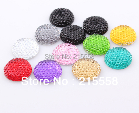 16MM 300Pcs Round Shape Flat Back Resin beads DIY Decoration Pave Rhinestone Flatback Beads Charms For Iphone