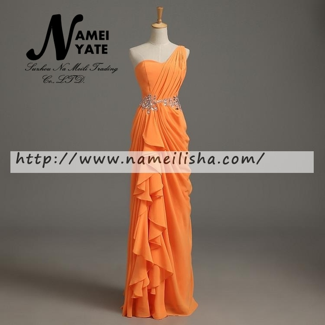 Simple Orange A Line Chiffon Ruffle Rhinestone Lace-up Floor-Length evening dresses Bridesmaid Dress 2017