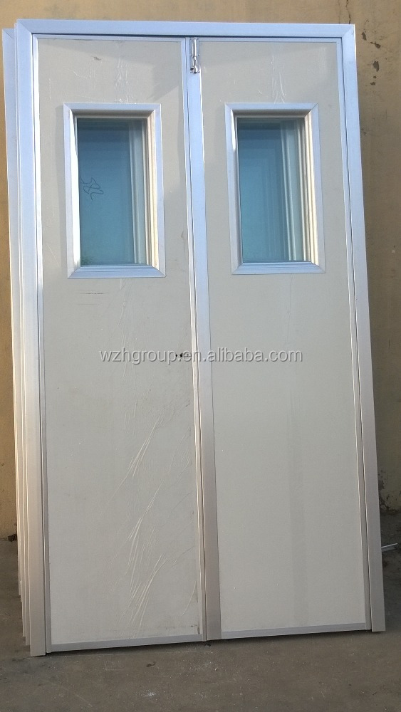 Temporary house use sandwich panel door with hinge and lock