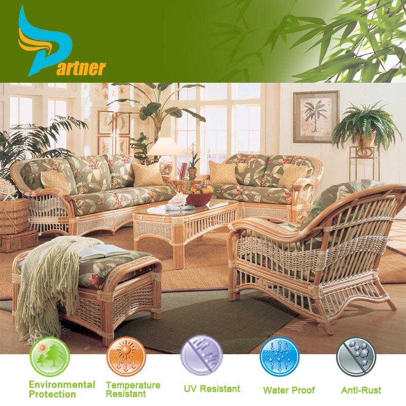 Exporter antique exotic cheap rattan sofa set outdoor for Indoor garden room furniture