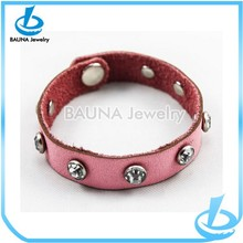 High quality pink leather button snap bracelet