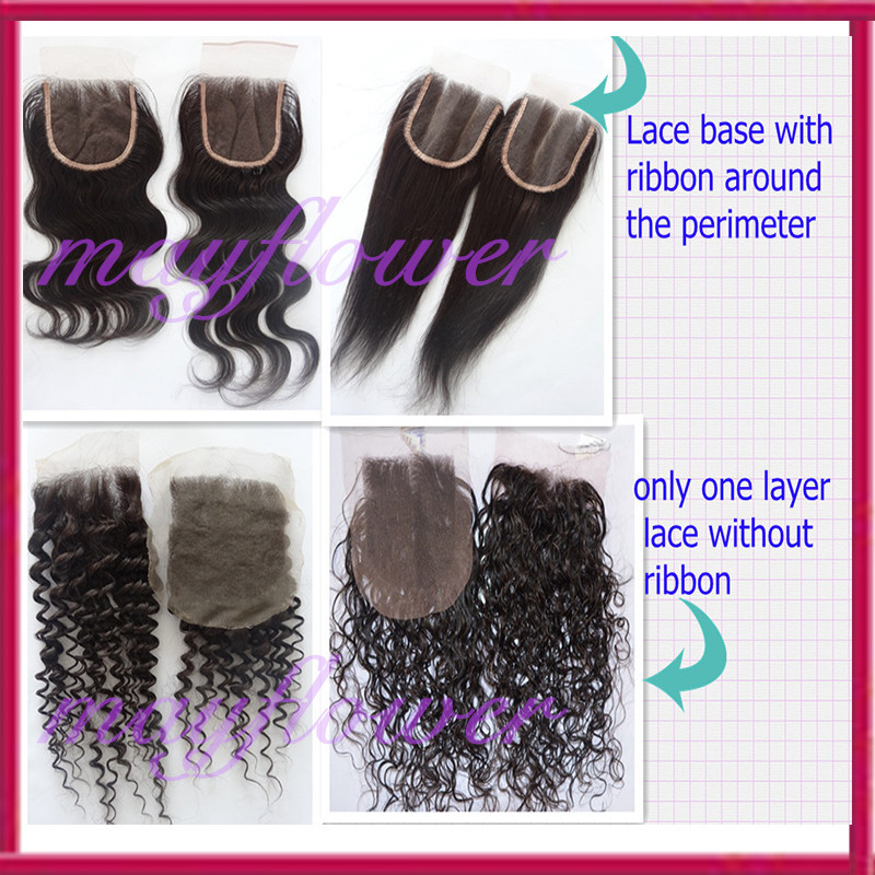 Bleached knots stock lace closures Brazilian virgin body wave hair pieces freestyle/3way/middle part