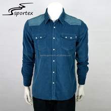 Hot sale fashion long sleeve corduroy flannel woven deep color casual outdoor man shirt