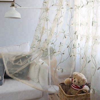Small floral Leaves Sheer Curtain Tulle Window Treatment Voile Drape Fabric Dormitorio Curtains For Living room