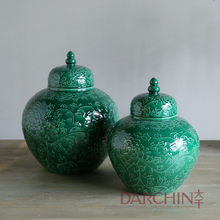New designs Chinese style wholesale ceramic jars with lid for home decorating home decor