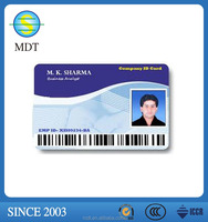customized printing pvc clear id card with barcode and signature panel