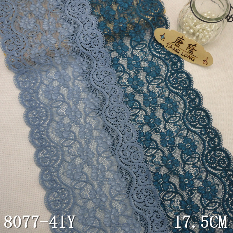 stretch lace factory direct sale 17.5cm wide silver gray elastic lace trim