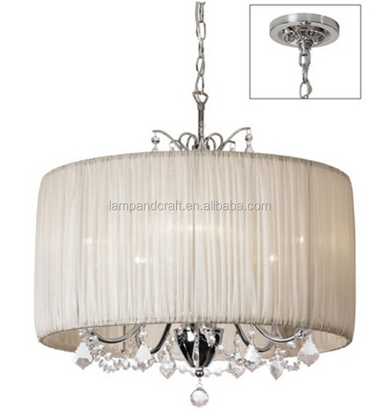 Chic 5-Light Crystal Chandelier pendant light with Oyster Pleated Drum Shade