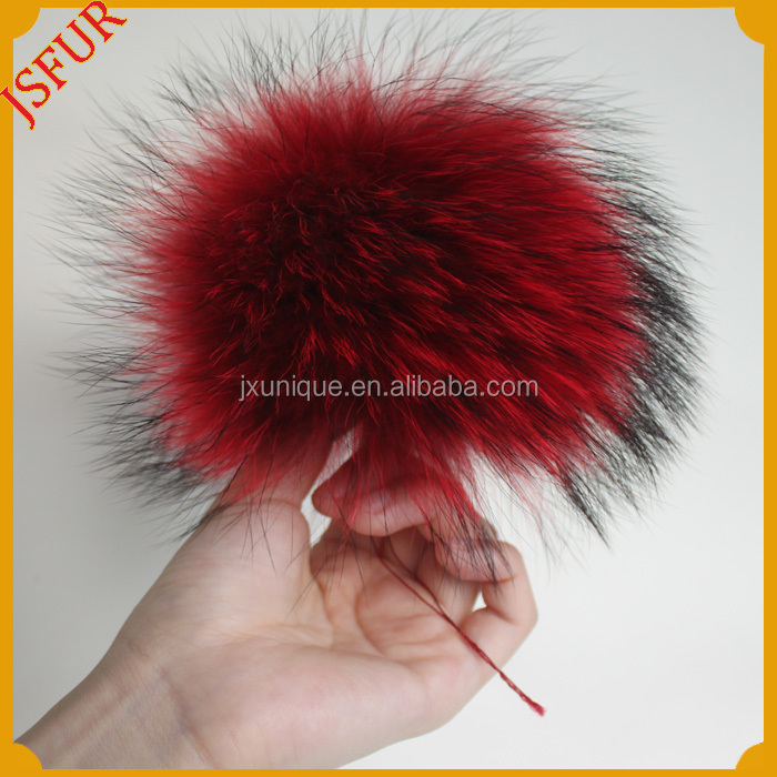 New Unique Design Colorful Real Raccoon Fur Ball Fur Pom Poms for Garment Accessory