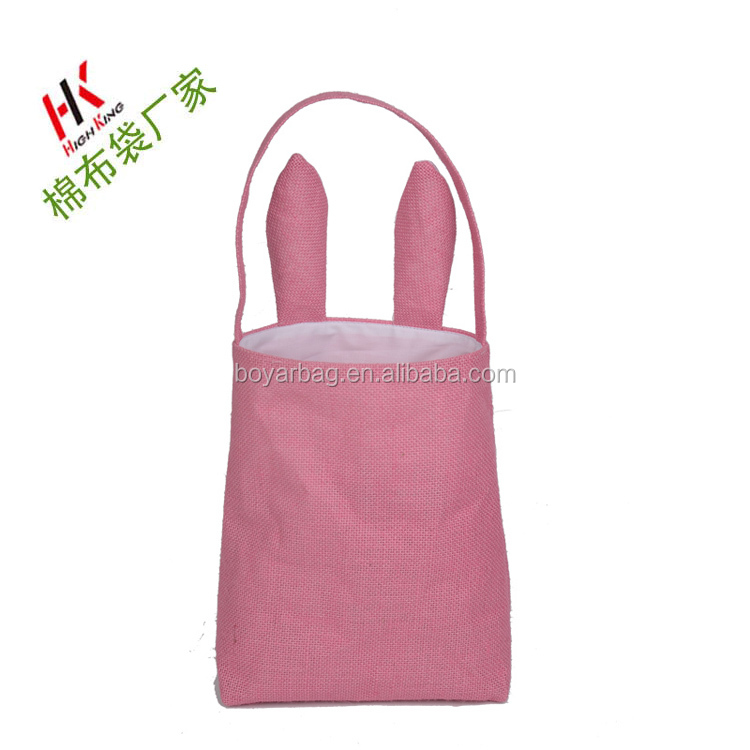 Wholesale new latest pink color jute easter bunny gift ear bag