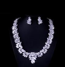 WM006 Huilin Jewelry Women's Elegant Austrian Crystal Leaf Shape Necklace and Earrings Jewelry Set for Wedding Dress