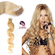 virgin indian remy hair, Unprocessed natural human hair extensions, remy tape hair extension #60 Platinum blonde