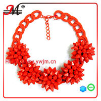 NK4846 Fashion neon red crystal brand desinger accessories flower jewelry statement choker necklace