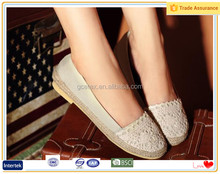 China popular girls fancy shoes flat crochet Cream-colored espadrilles