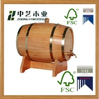 2016 year china factory FSC 5L pine wooden wine whiskey barrel