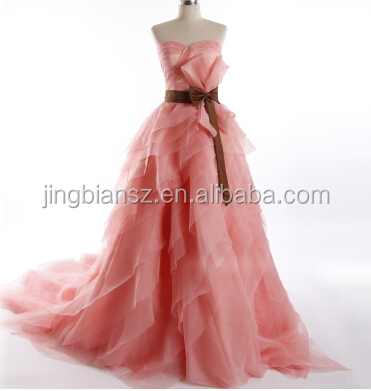 2014 most popular designer organza pink wedding dress #OW189