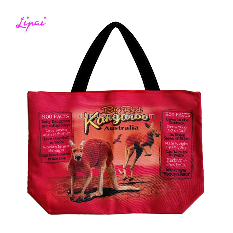 Promotional Waterproof Outdoor Exotic Printing Australia Kangaroo Beach Bag Tote Bags Shopping