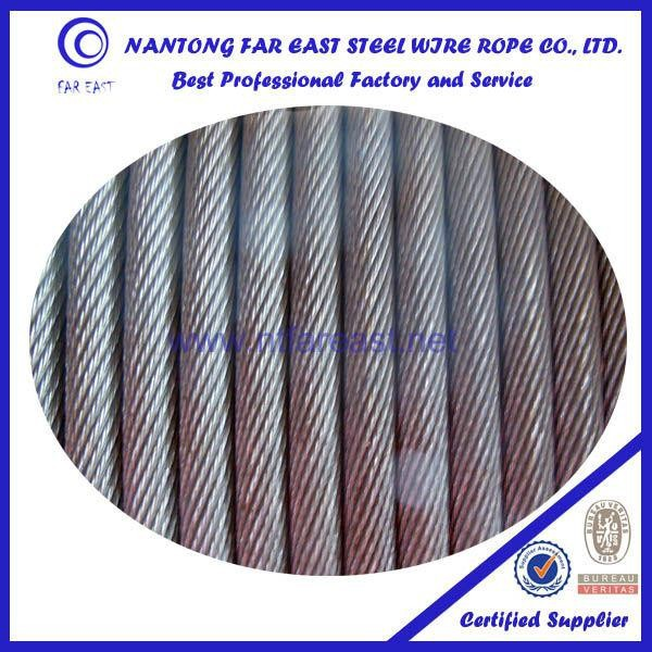 galvanized Vertical shaft lifting 19*7/18x7+FC steel wire rope from directly factory china